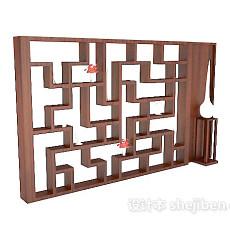 新中式实木书柜3d模型下载
