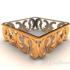 欧式风格花边玻璃茶几3d模型下载