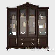 中式复古木质书柜3d模型下载
