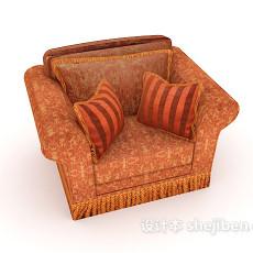 花纹欧式单人沙发3d模型下载