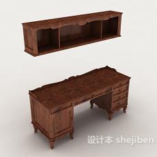 中式实木书桌柜3d模型下载