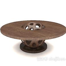 棕色实木圆桌3d模型下载