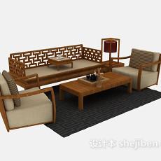 新中式沙发组合3d模型下载