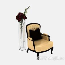 欧式沙发椅子3d模型下载