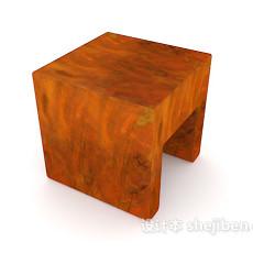 实木板凳3d模型下载