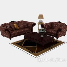 欧式居家式组合沙发3d模型下载