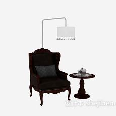 欧式单人家居椅3d模型下载