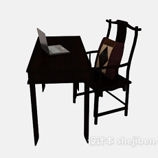 中式简约书桌椅3d模型下载