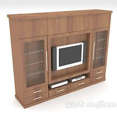 实木电视墙柜3d模型下载