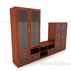 新中式连体书柜3d模型下载