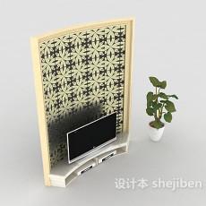 现代风格简约电视背景墙3d模型下载