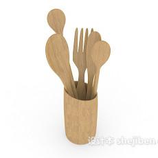 实木叉勺3d模型下载