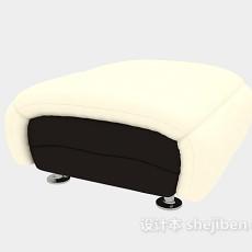 浅黄色沙发凳3d模型下载