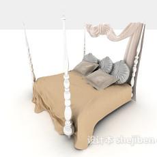 简约欧式床3d模型下载