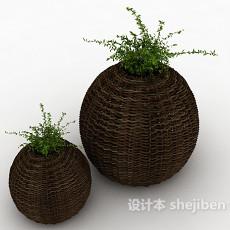藤编盆栽3d模型下载