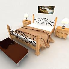 简约木质铁艺双人床3d模型下载