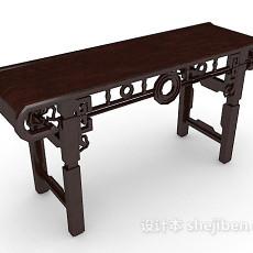 棕色中式条案书桌3d模型下载