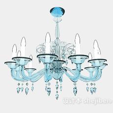 蓝色个性水晶吊灯3d模型下载