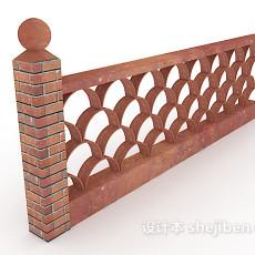 红砖围墙3d模型下载