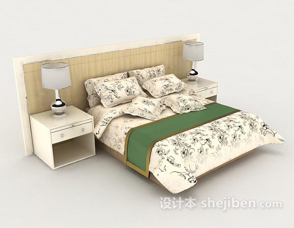 黄色简单双人床