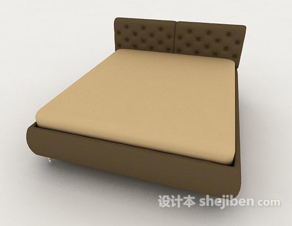 简约深绿色双人床