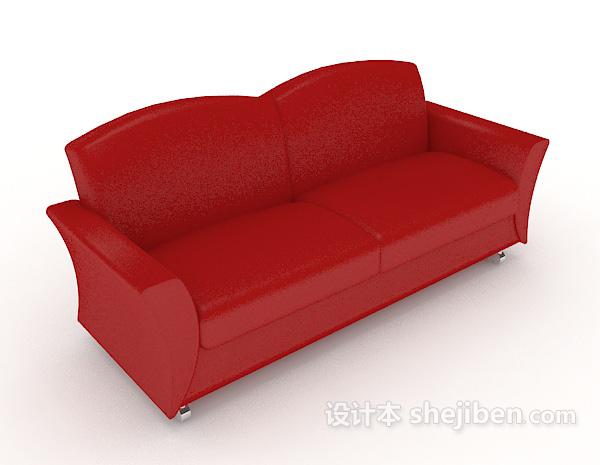 大红色双人沙发