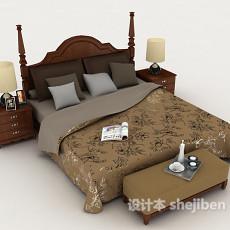 欧式实木居家床3d模型下载