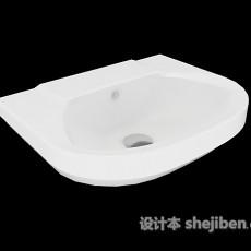 简单白色洗手池3d模型下载