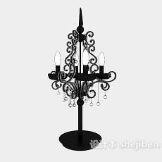 欧式黑色烛台灯3d模型下载