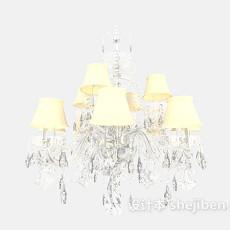 欧式黄色水晶吊灯3d模型下载