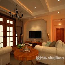 简欧温馨客厅3d模型下载