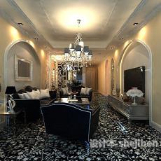 简欧家居客厅3d模型下载