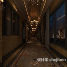 欧式酒店过道走廊3d模型下载