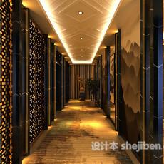 中式餐厅过道3d模型下载