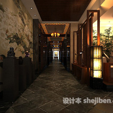 中式娱乐场所走廊3d模型下载
