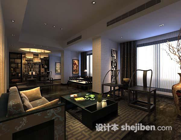 中式客厅简约3d模型