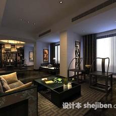 中式客厅简约3d模型下载
