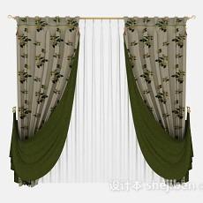 绿色双层花朵窗帘3d模型下载
