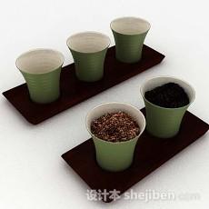 绿色简单茶具3d模型下载