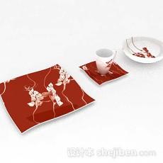 红色花纹餐具3d模型下载