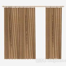 棕色百褶窗帘3d模型下载