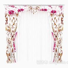 家居花朵窗帘3d模型下载