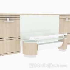 浅棕色办公班台3d模型下载
