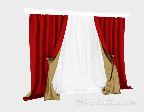 大红色双层窗帘