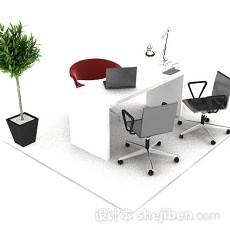现代简约办公桌椅3d模型下载