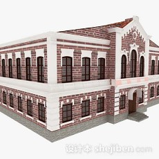 欧式红砖小楼3d模型下载