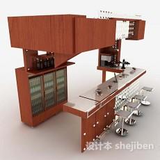 红棕色木质酒柜吧台3d模型下载