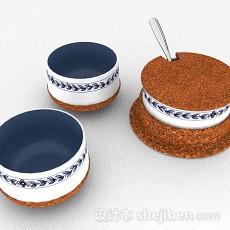 蓝色陶瓷碗组合3d模型下载