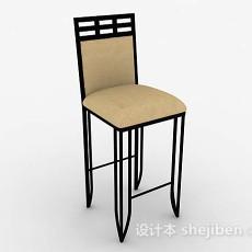 棕色木质简单吧椅3d模型下载
