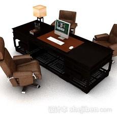 高档办公班台3d模型下载